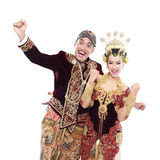 Happy traditional java wedding couple Stock Image