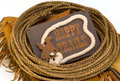 Happy trails  sign circled with rawhide lasso rope Royalty Free Stock Image