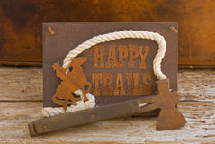 Happy Trails sign with old hatchet Stock Images