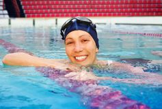 Happy training in pool Royalty Free Stock Photography