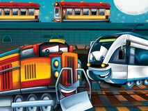 The Happy trains - illustration for the children Stock Images