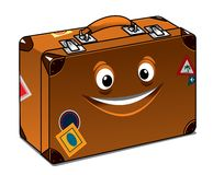 Happy travel brown leather suitcase Royalty Free Stock Images