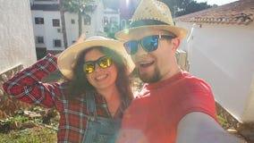 Happy travel couple in love Make funny selfie. Young Happy travel couple in love Make funny selfie stock video