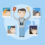 Happy travel man with passport, selfy photo and tickets. Vector image stock illustration