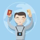 Happy travel man with passport and tickets. Vector image vector illustration