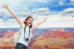 Happy travel woman in America Stock Photography