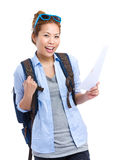 Happy travel woman holding information Royalty Free Stock Photos