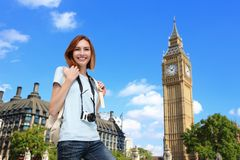Happy travel woman in London Stock Image