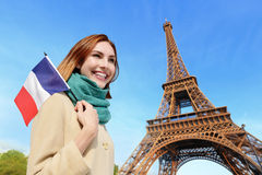 Happy travel woman in Paris Royalty Free Stock Images