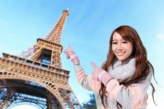 Happy travel woman in Paris Stock Photos