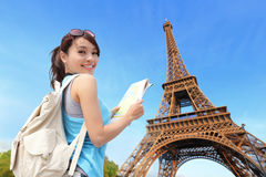 Happy travel woman in Paris stock images