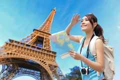 Happy travel woman in Paris Royalty Free Stock Photo