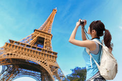 Happy travel woman in Paris Stock Photography