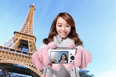 Happy travel woman in Paris Royalty Free Stock Image
