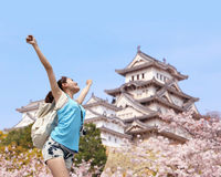 Happy travel woman with sakura tree Royalty Free Stock Photo