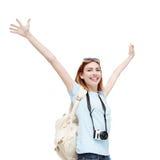Happy travel woman Stock Image