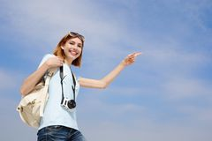 Happy travel woman Royalty Free Stock Photo