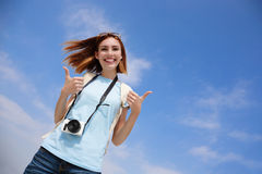 Happy travel woman stock photo