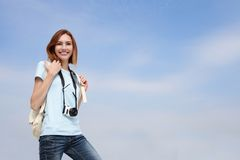 Happy travel woman Royalty Free Stock Photos
