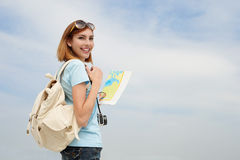 Happy travel woman Royalty Free Stock Images