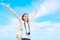 Happy travel woman Stock Images