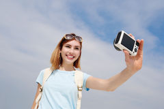 Happy travel woman take selfie Stock Photos