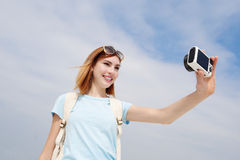 Happy travel woman take selfie Royalty Free Stock Images