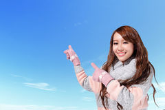 Happy travel woman in winter Stock Image