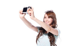 Happy travel young girl selfie Stock Photos