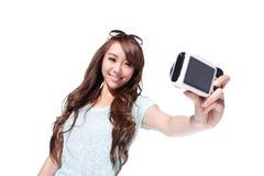 Happy travel young girl selfie Stock Photos