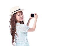 Happy travel young girl Royalty Free Stock Photography