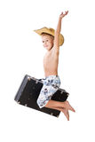 Happy traveler boy jump. Stock Photo