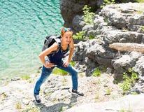 Happy traveler girl Stock Images