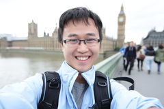 Happy traveler in london Stock Image