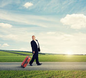 Happy traveler looking back Royalty Free Stock Photo