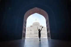 Happy traveler at Taj Mahal. Happy traveler at beautiful Taj Mahal mosque from Jawab doors (landscape orientation Stock Photos