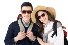Happy traveling Asian couple Stock Photos