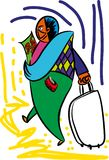 Happy traveller with passport. Tourist with passport Travel Agency and tourism. Traveling with a travel agency. Tourist on holiday. Vacation time for tourists stock illustration