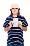 Happy traveller tourist man with passport Royalty Free Stock Photos
