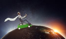 Happy travelling on toy vehicle stock photos