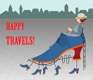 Happy travels - card or illustration Stock Image