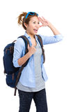 Happy travler woman looking Stock Photography