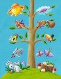 Happy tree. Acrylic illustration of happy tree Royalty Free Stock Photo