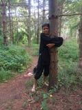 Happy tree hugger Stock Photo