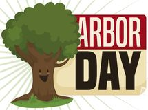 Happy Tree over Reminder to Celebrate Arbor Day, Vector Illustration. Happy tree celebrating Arbor Day and reminding at you this important date with a calendar vector illustration