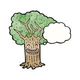 happy tree with thought bubble cartoon Stock Image