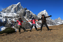 Happy trekker acting  from everest trek route Royalty Free Stock Photos