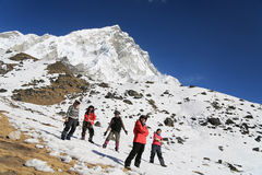 Happy trekker acting from everest trek route Stock Images