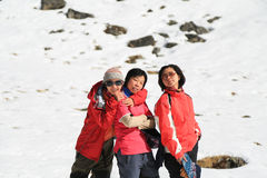 Happy trekker acting from everest trek route Stock Photography