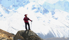 Happy trekker acting from everest trek route Stock Photo
